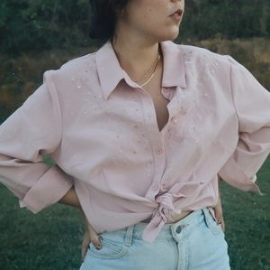Pink button down with embroidery & sequins